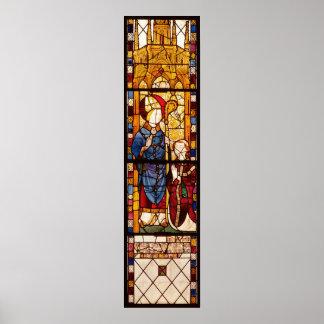 San Nicolás con un donante Póster