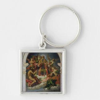 San Nicolás en gloria con los santos Llavero Cuadrado Plateado