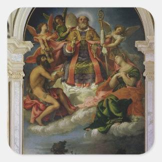 San Nicolás en gloria con los santos Calcomanía Cuadradas Personalizada