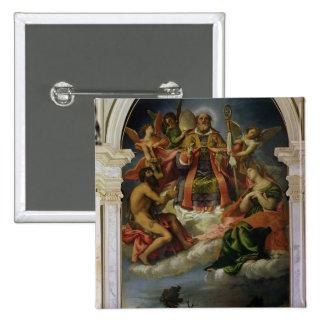 San Nicolás en gloria con los santos Pin Cuadrada 5 Cm