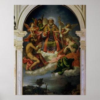 San Nicolás en gloria con los santos Póster
