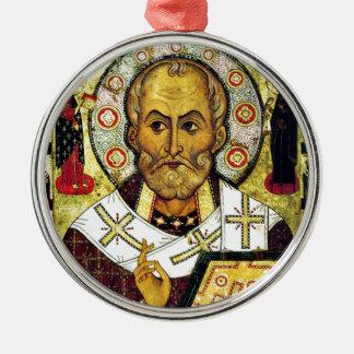 San Nicolás - santo patrón de niños Adorno Redondo Plateado