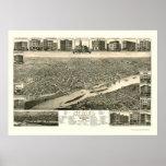 San Pablo, mapa panorámico del manganeso - 1883 Posters