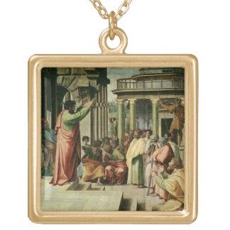 San Pablo que predica en Atenas (dibujo animado pa Colgante Cuadrado