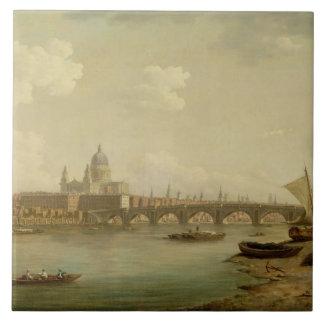 San Pablo y puente de Blackfriars, Londres, c.1770 Azulejo Cuadrado Grande
