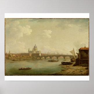 San Pablo y puente de Blackfriars, Londres, c.1770 Póster