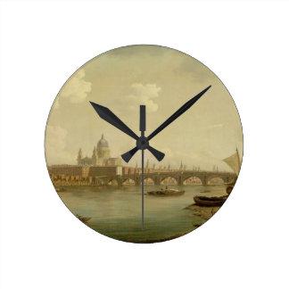 San Pablo y puente de Blackfriars, Londres, c.1770 Reloj Redondo Mediano