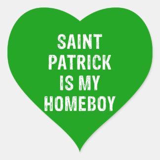 San Patricio es mi verde del Homeboy Pegatina En Forma De Corazón