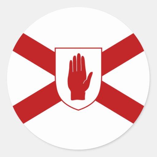 San Patricio para la bandera del escudo de Irlanda Pegatina Redonda
