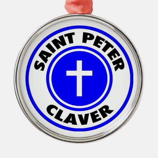 San Pedro Claver Adorno Redondo Plateado