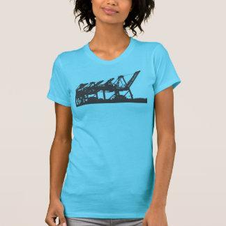San Pedro Harbor Cranes Turquoise T-Shirt