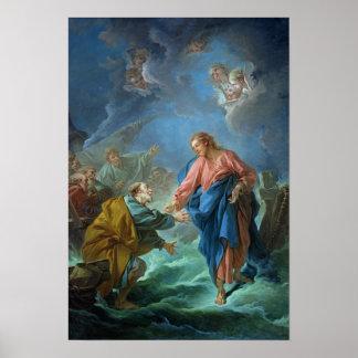 San Pedro invitó para caminar en el agua, 1766 Póster