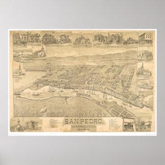 San Pedro, mapa panorámico 1895 (1319A) del CA Impresiones