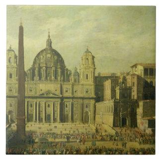San Pedro, Roma, 1630 (aceite en lona) Azulejo Cuadrado Grande