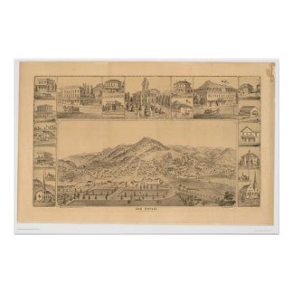 San Rafael, mapa panorámico del CA (1576A) Póster