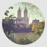 San Remo enmarcó por los árboles, Central Park, Pegatina Redonda