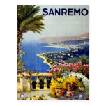San Remo Italian Mediterranean Travel Poster 1920 Postcard