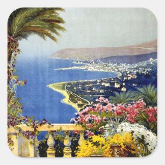 San Remo Italian Mediterranean Travel Poster 1920 Square Sticker