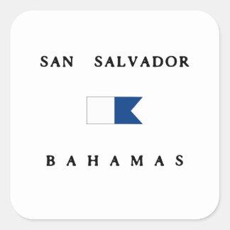 San Salvador Bahamas Alpha Dive Flag Square Sticker