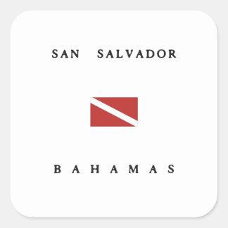San Salvador Bahamas Scuba Dive Flag Square Sticker