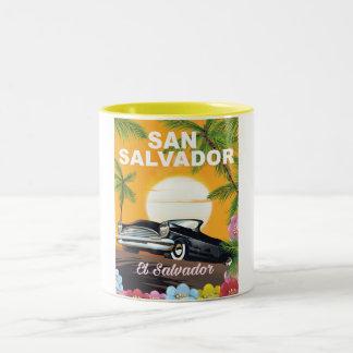 San Salvador Vintage travel poster Two-Tone Coffee Mug
