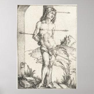 San Sebastián atado a una columna por Albrecht Dur Impresiones