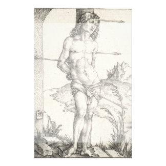 """San Sebastián atado a una columna por Albrecht Folleto 5.5"""" X 8.5"""""""