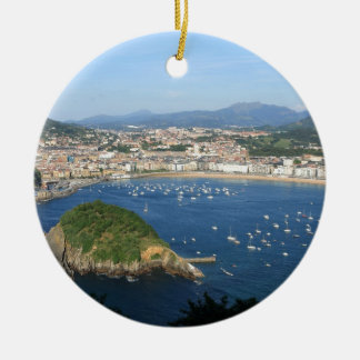 San Sebastian Basque Country Spain scenic view Double-Sided Ceramic Round Christmas Ornament
