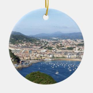 San Sebastian beautiful scenic coastline Ceramic Ornament