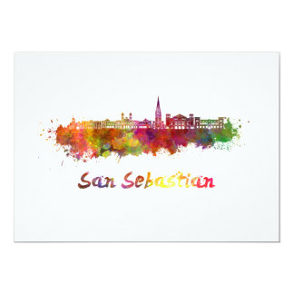 San Sebastian skyline in watercolor Card