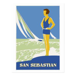San Sebastian vector art retro travel Post Card