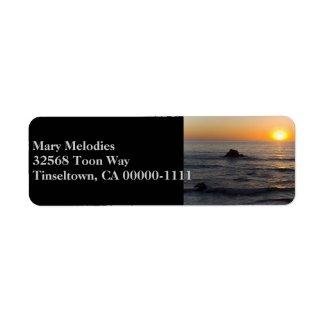 San Simeon Sunset Black Address Label label