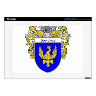 """Sanchez Coat of Arms/Family Crest 15"""" Laptop Decal"""