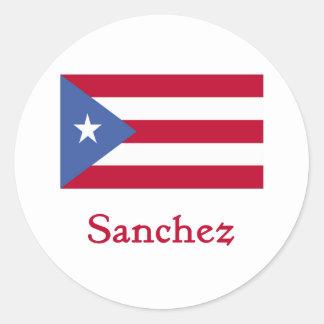 Sanchez Puerto Rican Flag Round Sticker