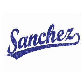 Sanchez script logo in blue postcard