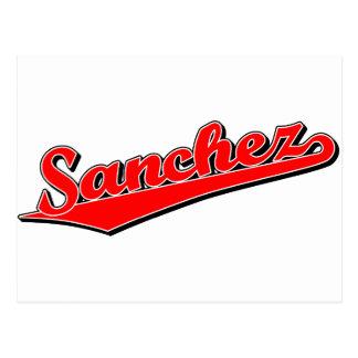 Sanchez script logo in red postcard