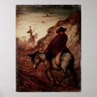 Sancho and Don Quixote, 19th century Poster