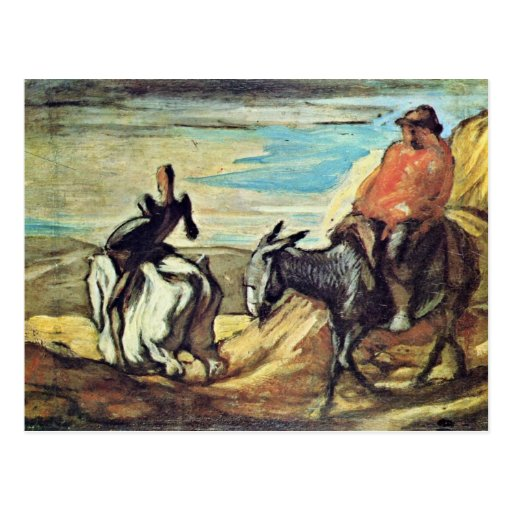 Sancho Panza And Don Quixote In The Mountains By D Post Card