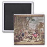 Sancho Panza and the Nut Seller 2 Inch Square Magnet
