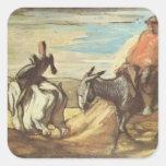 Sancho Panza, Don Quijote de Honore Daumier Calcomanías Cuadradas Personalizadas
