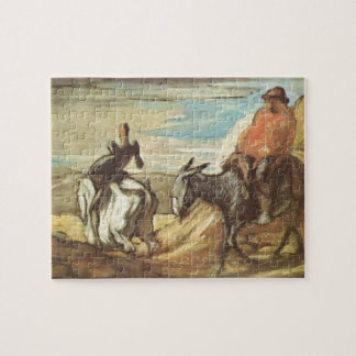 Sancho Panza,Don Quixote by Honore Daumier Jigsaw Puzzle