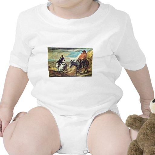 Sancho Panza y Don Quijote en las montañas por D Camisetas
