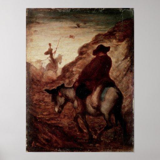Sancho y Don Quijote, siglo XIX Póster