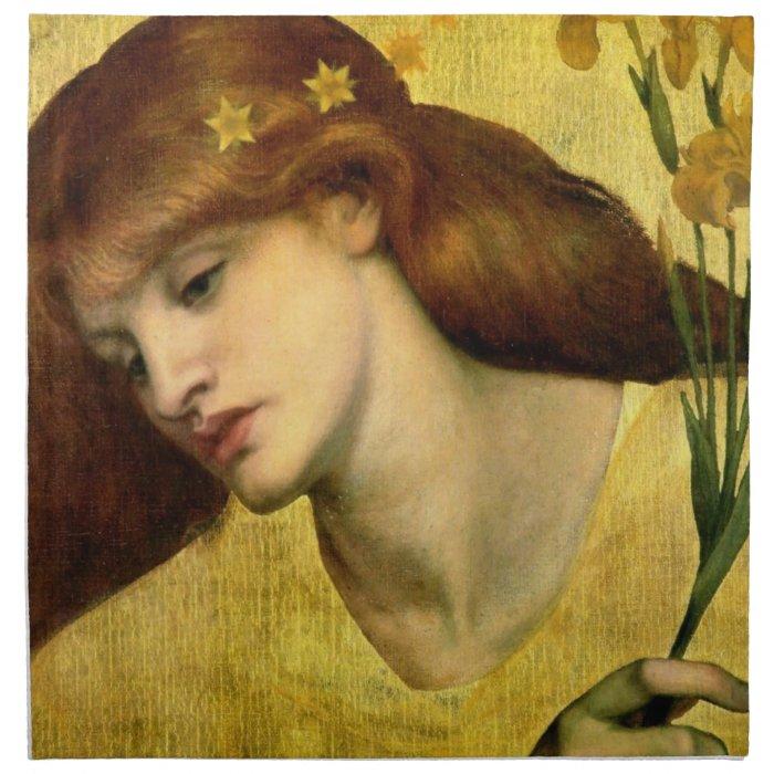 Sancta Lilias by Dante Gabriel Rossetti Cloth Napkin