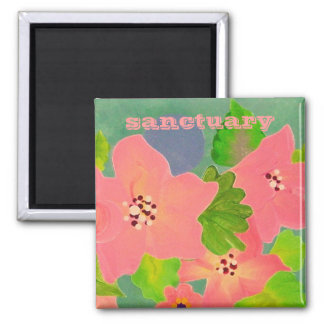 sanctuary garden with pink flowers magnet