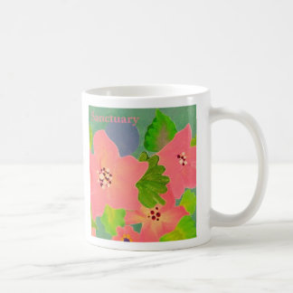 Sanctuary pink flowered coffee cup classic white coffee mug