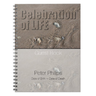 Sand 1 Celebration Of Life Memorial Guest Book Spiral Notebook