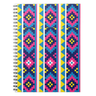 sand_and_beach AZTEC PATTERN BRIGHT COLORFUL SUMME Spiral Note Books