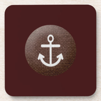 sand_and_beach BROWN WHITE ANCHOR GRAPHIC TEXTURED Coasters