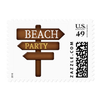 sand-and-beach_wood-sign BEACH PARTY WOODEN SIGN F Postage Stamps